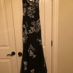 Black with white beading classic formal dress
